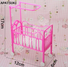 2017 Best Selling Dolls Baby Bed for Barbie Dollhouse Plastic Super Cute Bed For Kelly Dolls for Barbie Doll House Furniture(China)