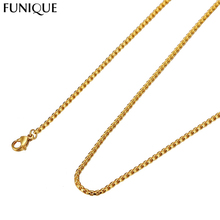 FUNIQUE Fashion Twisted  Stainless Steel Long Necklace Jewelry Women Men Gold Chain Necklace Jewelry