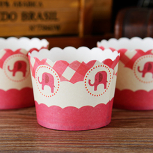 Little elephant cupcake case, muffin paper cups tin liners, cheap cupcakes boxes holder supplies