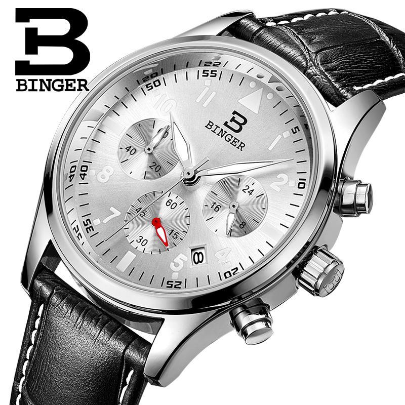 Switzerland BINGER mens watches luxury brand Quartz waterproof leather strap clock Chronograph Stop Watch Wristwatches B9202-6<br>