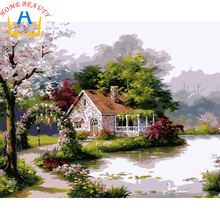 Oil Painting By Numbers On Canvas DIY Handpainted Landscape Painting Coloring By Numbers Acrylic Paint Home Decor Cheap E692