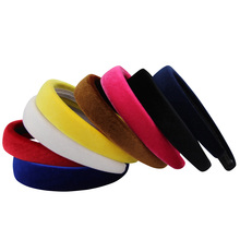 Fashion Vintage Style Women Velvet Hairbands Hair Accessories Headband 2.5CM Wide Drop Shipping(China)