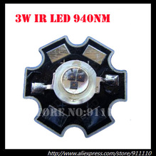 10pcs/lot 3W 940nm Infrared ir LED Emitter; High Power Infrared Led 3W on 20mm Heatsink