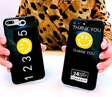 Glossy IMD Big Smile Thank You & Number Pattern Black Phone Cover Cases For iPhone 6 6s Plus 7 7 Plus Back Capa Protective Coque(China)