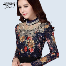 NEW 2017 Women Floral Lace fashion casual girl blouse Diamond beaded lace shirt Female Tops women clothes 3115 25(China)