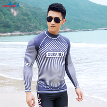 Dive & Sail Men's UV Sun Protection Long Sleeve Top Shirts Skins Tee Rash Guard Compression Base Layer Wetsuit UPF 50+