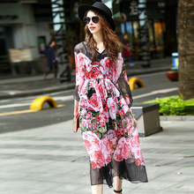 Novelty Dresses 2017 Summer Fashion Romantic Floral Print Half Batwing Sleeve Patchwork Mesh Mid-Calf Vacation Dress