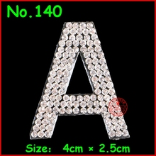 1 pcs English Alphabet Letter Patches Crystal Iron on Patch Hotfix Rhinestones Motif Applique For Children Women Clothes Patch