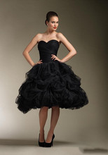 Hot Sale Sweetheart Zipper  Back Short Tulle Victorian Gothic Black Prom Dresses Simple Knee Length Women Party Dress