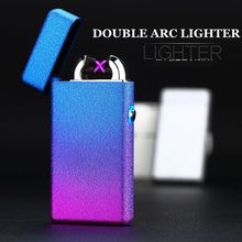 Top Quality Glass Windproof Lighter LED Cross Double Bow Lighter USB Charge Pulse Cigar Lighter Men's Gift Box Cigarette Case