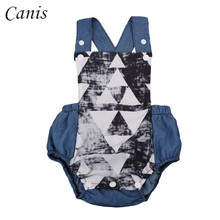 One Pieces Newborn Infant  Baby Boys Denim Suspender Romper Sleeveless Jumpsuit Summer Cute Outfits 0-18M