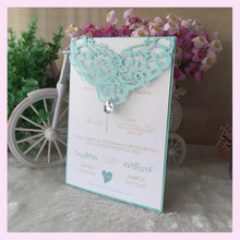 100psc tiffany blue color lace elegant Wedding Party decoration Invitation cover Card wishing well card with bead printing Qj-7