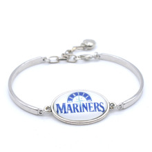 MLB Seattle Mariners Charms Leather Bracelets Sports Baseball Silk Bracelet Metal Bangle Fashion 2017