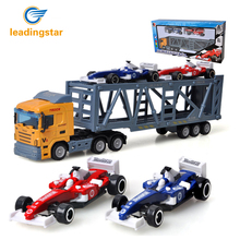 LeadingStar Children 1pc Container Truck Model + 2pcs Mini Race Car Toys Simulation Alloy Car Model Random Color zk30(China)