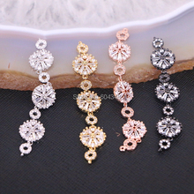 10PCS Zyunz Link Connector CZ Micro Pave Beads Jewelry findings Micro Pave Crystal Zirconia long connector beads DIY accessories(China)