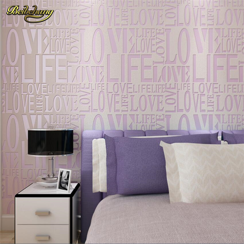 beibehang Luxury PVC Wallpaper Roll Letter Pattern Wallcover Paper Mural Modern Pink For Kids Living Room Home Decoration <br>