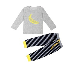 Fall Clothes Baby Girl Hot Sales 1Set Infant Baby Boys Girls Banana Print T-shirt Tops+Pants Outfits Clothes Two Piece Set(China)