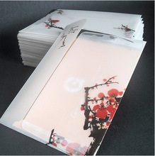 5pcs plum blossom wintersweet painting post card size translucent paper  material China artificial parchment paper envelope
