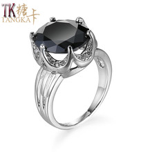 TANGKA Selling Fashion Girls Ring Color Zircon Silver Color Round Copper Ring Attend Charity Party Premium Women Wear Jewelry(China)