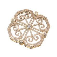 Supplier For Jewelry Parts Top Quality Copper Micro Pave Zircon Filigree Connectors For Necklace Embellishments Findings