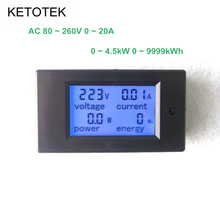 AC 80-260V 20A Digital LCD Display Blue Backlight Voltage Current Power Energy Meter AC Voltmeter Ammeter