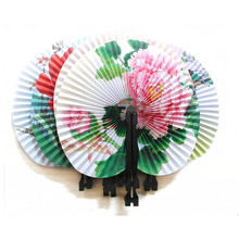 500pcs Vintage Chinese Style Hand Fan Round Paper Paint Flowers Ladies Party Gift Craft Wedding Favors Home Decoration ZA1188