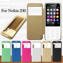 coque for  Nokia 230 Mobile Phone Cases Brushed PU Leather View Windows Phone Capa Case Cover for Nokia 230 Bag Shell Cover
