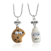 2pcs/set Free shipping Best Friends BFF pendant bead chain necklace fastfood milk cookie biscuit kids jewelry lead nickel free