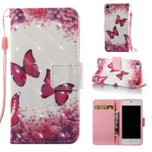 Red Butterfly Pattern 3D Colorful Leather Wallet Flip Stand Pouch Skin Case For Apple iPod Touch 5 5th 6 6th Funda Coque Capa(China)
