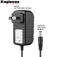 12V 2A Power Adapter Negative Center US Plug A Type 100-240V Converter Noiseless Technology for Guitar Effect Pedal Power Supply