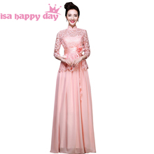 sleeve party chiffon lace special pink evening dress elegant sleeved long engagement dresses 2018 for special occasions W2646(China)