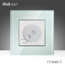 Dimmer Switch Wallpad White Luxury Tempered Glass 500W Rotary Light Lamp Dimmer Dimming Wall Switch 220V Free Shipping(China)