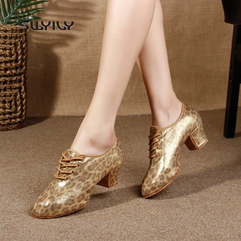 SWYIVY Women Latin Dance Shoes Leopard Print Square Heel Dance Sneakers Women 2018 New Soft Sole Ballroom Dance Shoes For Women