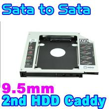 "9.5mm 2.5"" SATA to SATA Aluminum 2nd SSD HDD HD Hard Disk Drive 3.0 Caddy External Enclosure CD DVD Optical Bay Case for Laptop"