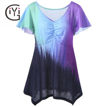 GIYI Plus Size 5XL Ombre Tie Dye Tops Women Summer 2017 Big Size Flare Sleeve T-shirts V Neck Color Block Print Tee Shirt Ladies