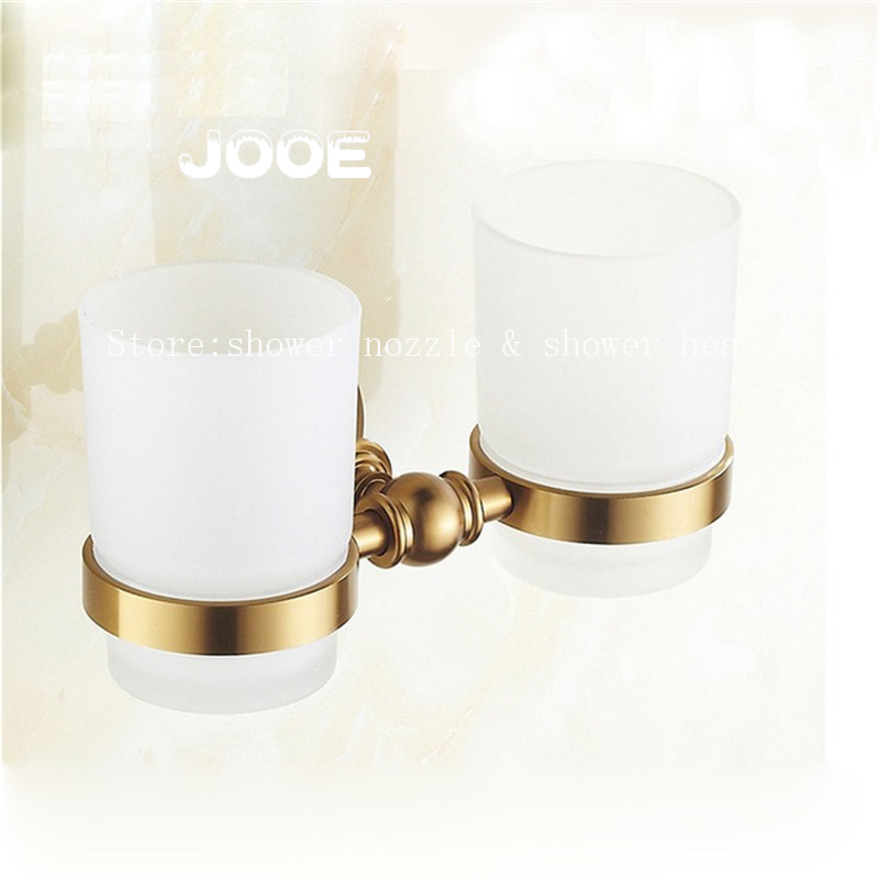 Jooe Antique Bronze Glass Double cup toothbrush holder with copo cup holer rack toothbrush Bathroom Accessories<br><br>Aliexpress