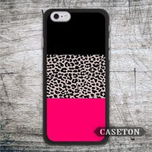 Black and Pink Leopard Print Case For iPhone 7 6 6s Plus 5 5s SE 5c 4 4s and For iPod 5 Wholesale and Retail To Worldwide