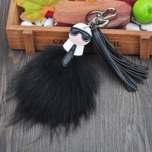 Fluffy Genuine Fox Fur Karl Pompom Monster Bag Bugs Charm Keychain Plush Key Ring Leather Tassel Pom poms Key chain F386B(China)