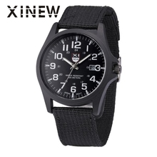 XINEW 2017 Reloj watch men  Outdoor Mens Date Stainless Steel Military Sports Analog Quartz Army Wrist Watch  relogio masculino