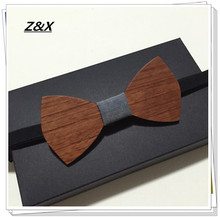 Z&X  HOT SALE Formal Commercial Wooden Bow Tie Male Solid Color Marriage Bow Ties For Men Butterfly Cravat Wood Bow Tie