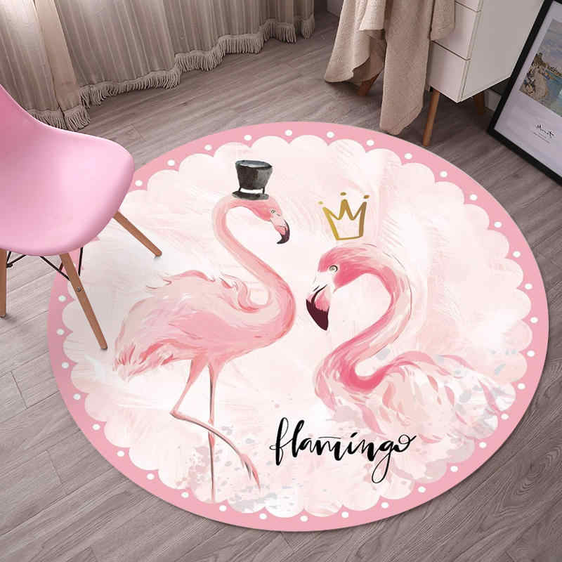Cute Flamingo pattern Round Rug Pink Bedroom Decoration Soft carpets for living room Coffee Table Area Rugs Computer Chair Mats