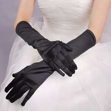 Black White Ivory Red Elbow Long Wedding Gloves Finger Satin Simple Cheap Women Bridal Gloves Guantes Para Novias