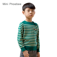toddler boy sweater 100% Merino wool kids jumper winter pullover for boys kids winter wear sweater Green gray white stripes 2017