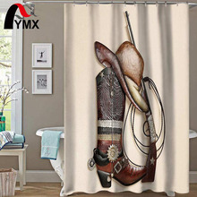 Coffee Color Shower Curtain Cowboy Boots Hat Gun Waterproof  Polyester Fabric Bathroom Products Curtains Shower Bathtub Decor