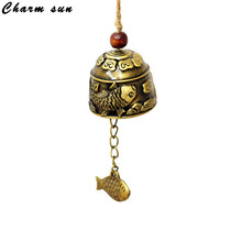 Metal Bells Gifts Crafts Creative Dragon Fish Pattern Car Hanging Decorations Pendant wind-bell Home Garden Decor(China)