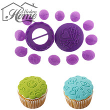 DIY Cake Chocolate Mold 14pcs Cup Cake Decorating Plastic Printing Biscuits Cookies Cutter Embosser Fondant Gum Paste Cake Tools(China)