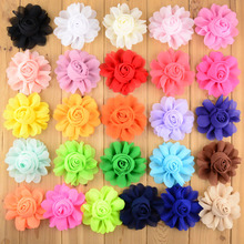 50pcs/lot 26Colors 8CM Chiffon Rosette Fabric Flowers Artificial Hair Flower For Girls Hairbow Wedding Accessoires TH25(China)