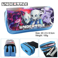 Undertale Fabric Stationery Pencil Case ,20*9*6.5cm Cartoon Anime Double Zipper School Pencil Bag Kids Gift(China)