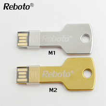 Mini metal Aluminium key shape USB flash drive usb 2.0 pendrive 4GB 8GB 16GB 32GB 64GB memory stick u disk(China)