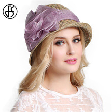 FS Ladies Philippines Linen Fedora Hats Beige Red Purple Blue For Women Wide Brim Summer Hollow Out Flowers Design Hat